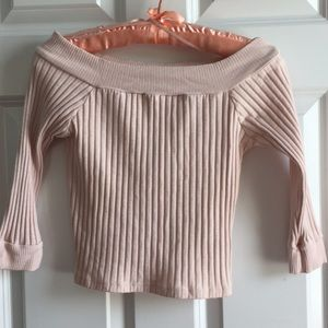 Sweet blush colored ribbed crop top